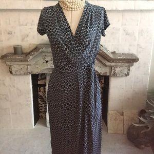 Ann Taylor Knit Wrap Dress Navy & White